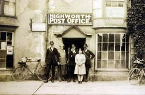 Mabel (2nd left) and the staff at Highworth Post Office. circa 1940
